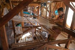 Standing loom workshop on the Lake Inle Myanmar Royalty Free Stock Images