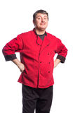 Standing man, chef, cook, butcher Stock Image