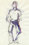 Standing man, drawing. Hand drawing picture with standing figure, water colors Stock Images