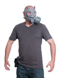 Standing man in gas mask Stock Photos