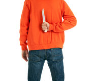 Standing man  with knife for backs Royalty Free Stock Photography