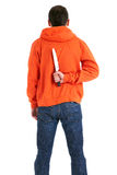 Standing man with knife for backs Royalty Free Stock Photos