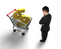 Standing man looking at shopping cart with golden dollar sign. High angle view, isolated on white Stock Photo