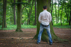 Standing man peeing near big tree in summer forest Royalty Free Stock Photos