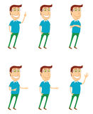 Standing man with various poses Royalty Free Stock Images