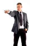 Standing manager pointing sideways Stock Photo