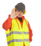 Standing manual worker, ok. sign Royalty Free Stock Photos