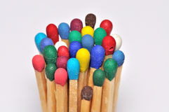 Standing match head. A lot of matches with different colors Royalty Free Stock Image