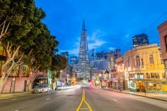 Columbus Avenue at blue hour royalty free stock image