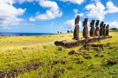 Standing moais looking at sea in Easter Island Royalty Free Stock Images