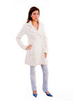 Standing model wearing overcoat Stock Images