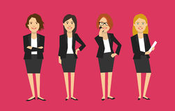 Standing modern business woman in suit, flat vector illustration Stock Photo