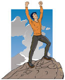 Standing on Mountain Top. An illustration of a man standing triumphant on top of a mountain royalty free illustration