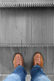 Standing on move up escalator Royalty Free Stock Image