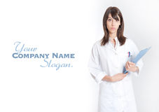 Standing nurse with folder Royalty Free Stock Photography