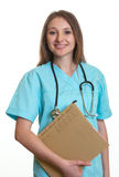 Standing nurse with medical file Royalty Free Stock Image