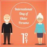 International Day of Older Persons, 1 October. Standing old man and woman conceptual illustration Royalty Free Stock Photos