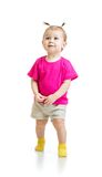 Standing one year kid in tshirt isolated stock photos