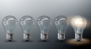 The standing our from the crown concept with light bulbs ecology and green environment concept - 3d rendering Stock Photo
