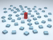 Standing out. One tall red block among many small blue blocks vector illustration