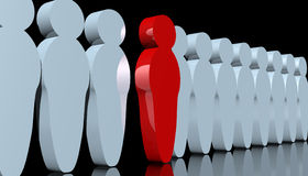 Standing out. Abstract rendering of men-like pawns with one red man standing out Stock Photo