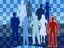 Standing Out. Group of people against a groovy blue background, but one stands out in bright, bold red Stock Illustration