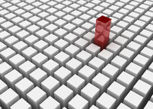 Standing Out. Red 3d block standing out Stock Photography