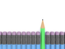 Standing Out Concept. Green pencil standing out from the crowd on white background Royalty Free Stock Photo