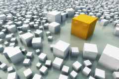 Standing out of the croud. An illustration of a different cube standing out of the crowd Stock Photo