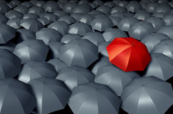 Standing Out From The Crowd. With a red umbrella against a group of gray umbrellas as a storm weather business concept of unique and different protection and stock illustration