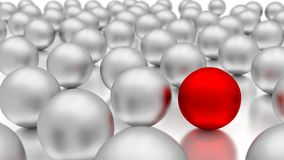 Standing out of the crowd. 3d metal balls Royalty Free Stock Image