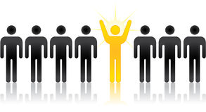 Standing out from the crowd. Silhouette people, an individual, innovator, or entrepreneur stock illustration