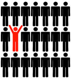 Standing out in crowd. Human figures with one standing out in the crowd - vector Stock Photo