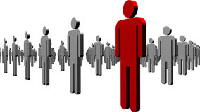 Standing out from the Crowd. Man Standing out from the Crowd Royalty Free Stock Photos
