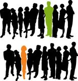 Standing out of the crowd. Silhouette Business People. Vector file available Stock Images