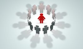 The woman - the head symbolic figures of people. 3D illustrati Stock Images