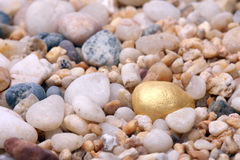 Standing out in crowd. Gold will shine, the nugget in the sand Royalty Free Stock Photo