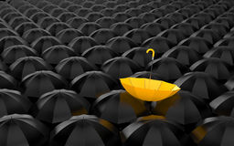Standing out from the crowd. Umbrella metaphor royalty free illustration