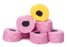 Standing out liquorice allsorts. Cutout Royalty Free Stock Photography