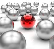 Standing Out Metallic Balls Shows Leadership Royalty Free Stock Photo