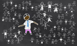 Standing Out from the Rest. On Blackboard stock illustration