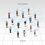 Standing people with speech bubbles. Few different casual standing people with speech bubbles Royalty Free Stock Image