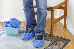 Standing Person Wearing Booties Stock Photos