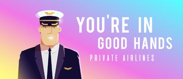 A standing plane. Travel by airplane. A pilot. Perfect vector Illustration on the theme of travel by airplane, private airlines, transportation. A pilot stock illustration