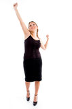 Standing pleased female looking upward Stock Photos