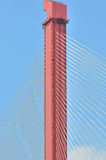 Standing pole of bridge and steel cable Royalty Free Stock Photography