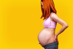 Standing red hair pregnant woman,  on yellow background. Royalty Free Stock Photo