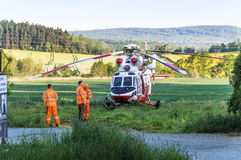 Standing rescue helicopter Stock Images