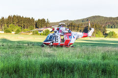 Standing rescue helicopter Royalty Free Stock Images