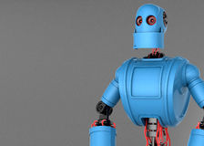 Standing Robot. With dark blank background. Front view Stock Photos